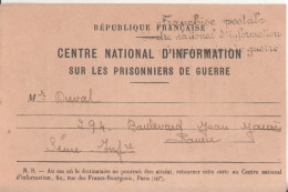 Militaire Carte De Correspodance  Centre National D'information Sur Les Prisonniers De Guerre 1940 - Militaria