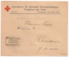 CROIX ROUGE ROTEN KREUZ FRANDFURT AM MAIN, PRISONNIER DE GUERRE 14 18. CENSURE ROMANS Drome. - Marcophilie (Lettres)