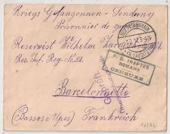 RARE GRIFFE P.G. INAPTES (au Travail) ROMANS CENSURE Pour PRISONNIER DE GUERRE à BARCELONNETTE. Origine NEUPETERSHAIN. - Marcophilie (Lettres)