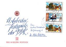 RDA. N°2175-6 De 1980 Sur Enveloppe Commémorative Ayant Circulé. Danse Folklorique/Moulin/Phare.