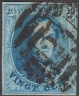 Belgique 1861 COB 11 Oblitération P 24 Bruxelles 8 Barres