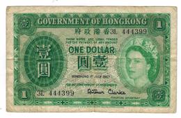 Hong Kong 1 Dollar, 1957, VF.  QEII, F . Free Economic Ship. To USA - Hong Kong