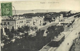 TUNIS  Avenue Jules Ferry TRAM  + Beau Timbre 5 Recto Verso