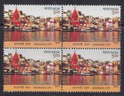 INDIA 2016, Varanasi City, River, Temple, Boat, Bloack Of 4, MNH, (**)