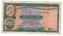 Hong Kong 10 Dollar, 1959, VF Crisp.  QEII, F . Free Economic Ship. To USA - Hongkong