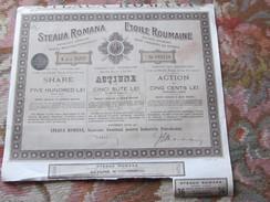 ACTION DE 500 LEI - ETOILE ROUMAINE- SOCIETE ANONYME POUR L'INDUSTRIE ET LE PETROLE -1921 - Pétrole