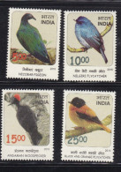 INDIA 2016, Threatened Birds, Nicobar Pigeon,Nilgiri Flycatcher,Andaman Woodpecker. Set 4 V,  MNH, (**)