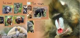 Togo 2014, Animals, Monkeys, 4val In BF +BF