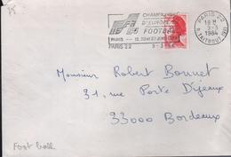 """Lettre Paris 22  9-3 1984  Flamme =o """" Championnat D'Europe De Football ....12, 20 Et 27 Juin 1984"""" - Fußball-Europameisterschaft (UEFA)"""