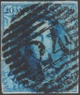Belgique 1858 COB 11A Oblitération P 24 Bruxelles 14 Barres