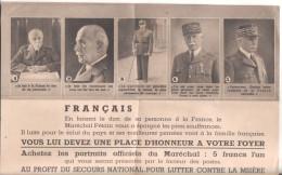 Politique Petain Tract 21 Sur 13,5 Tract Au Profit Secours National Pour Lutter Contre La Misere - Personnages