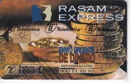P-309 TARJETA TELEFONICA DE ESPAÑA DE RASAM-EXPRESS DE TIRADA 4000 NUEVA-MINT EN BLISTER ¡VALOR FACIAL!! (MONEDA-COIN) - Spagna
