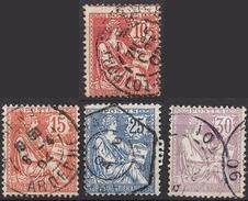 FRANCE 1900 / 1902 - LOT Y.T. N° 124 / 125 / 127 / 128 - OBLITERES - FD50
