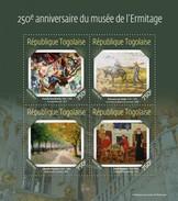 Togo 2014, Art, 250th Ermitage Museum, Chess, Van Gogh, Kandinsky, Pisarro, 4val In BF