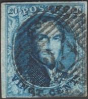Belgique 1858 COB 11A Oblitération P 24 Bruxelles. Cadre Prolongé En Haut à Gauche