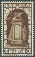 1934 REGNO POSTA AEREA FIUME 50 CENT MH * - CZ35-2 - 1900-44 Vittorio Emanuele III