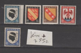 FRANCE / 1946 / Y&T N° 755/758 + 755a ** : Blasons (5 TP) - Gomme D´origine Intacte