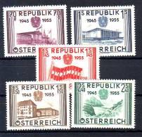 Austria 1955 Y 10th Ann Of Independenca Mi No 1012-16 MNh