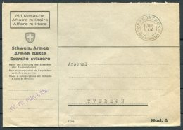 Switzerland Fieldpost Feldpost 1/212 CP. FR.FUS. Cover - Arsenal, Yverdon - Military Post