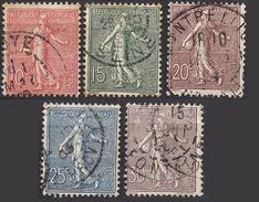 FRANCE 1903 / 1920 - SERIE Y.T. N° 129 A 133 - 5 TP OBLITERES - FD51