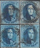 Belgique 1858 COB 11A  4 Timbres
