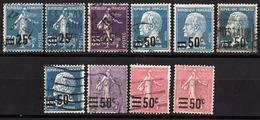FRANCE 1906 / 1926 - LOT Y.T. N° 2 X 217 / 218 / 3 X 219 / 222 / 223 / 2 X 224 - 10 TP OBLITERES - FD51