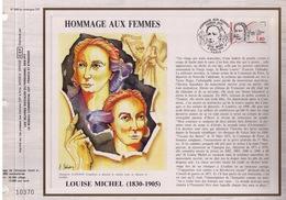 FEUILLET CEF TIRAGE 20.300 EX EN OFFSET, HOMMAGE AUX FEMMES, LOUISE MICHEL (1830-1905), 1986