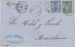 """FRANCE : N° 75 Et N° 79 . TYPE SAGE . OBL . """" MARSEILLE BM """" . POUR L´ESPAGNE . 1877 . - Marcophilie (Lettres)"""