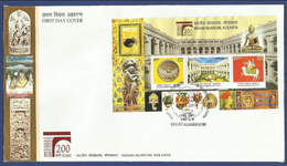 INDIA MNH 2014 FDC FIRST DAY COVER INDIAN MUSEUM KOLKATA MS MINIATURE SHEET 200 YEARS ANNIVERSARY BUDDHA MASK ART