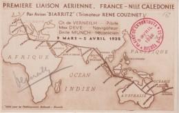 FRANCE :  PA . CP DE LA 1ère LIAISON . PARIS 06/03/32 NOUMEA 05/04/32  . CS PLAINE DE LA TONTOUTA  . SIGNEE PILOTE . - Postmark Collection (Covers)