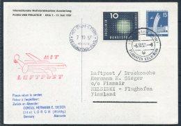 1957 Germany Koln Budesgartenschau Ausstellung Stationery Postcard Luftpost Finnair Flight - Helsinki