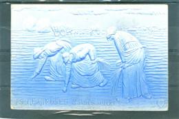 2 Cpa - Relief - Gaufrée - Prage - Embossed - Glaneuses Bleue Et Verte - Fantaisies