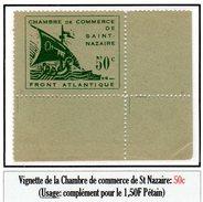 Poches De L'Atlantique - Vignette Chambre De Commerce De St Nazaire (50c N° 8**)