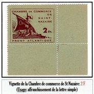 Poches De L'Atlantique - Vignette Chambre De Commerce De St Nazaire (2F N° 9**)