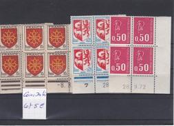 France Lot De 4 Blocs De 4 Coins Datés **