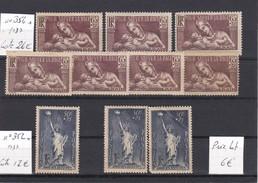 France 1937 - Lot De 9 Timbres N° 352 * Et 356 *