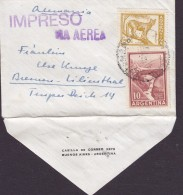 """Argentina (Purple9 VIA AEREA & IMPRESO Cancel """"Petite"""" BUENOS AIRES Cover Letra Germany Puma & Mendoza Puente (2 Scans) - Posta Aerea"""