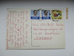 SRI LANKA  , 1975  TO SWEDEN , DEHIWALA ZOO  ELEPHANTS ,  POSTCARD, 0