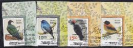 INDIA, 2016, FIRST DAY CANCEL, Set 4v Complere,Threatened Birds, Nicobar Pigeon,Nilgiri Flycatcher,Andaman Woodpecker.