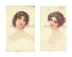 Portrait De Femme  Brune Type Viennoise - LOT DE 2 - 4 Scans - Illustrators & Photographers