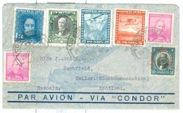 1937 Chile Coquimbo Airmail Cover Via Condor To Scotland, Multistamped