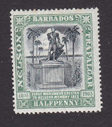 Barbados, Scott #103, Mint Hinged, Lord Nelson Monument, Issued 1906 - Barbados (...-1966)