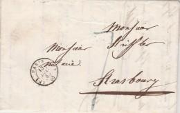 Lettre Cachet PARIS 13/12/1845 Taxe Manuscrite Pour Strasbourg Bas Rhin - Postmark Collection (Covers)