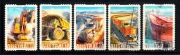 Australia Used Scott #2849-#2853 Set Of 5 Heavy Haulers: Excavator, Trucks, Train, Ship - Coils