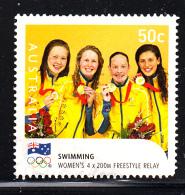 Australia Used Scott #2916 50c Women's 4 X 200m Freestyle Relay, Swimming - Gold Medallists - 2008 Summer Olympics