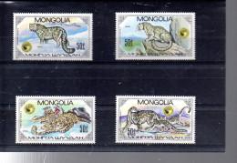 MONGOLIE 1374/1377** SUR LA PRESERVATION DE LA FAUNE  LE LEOPARD