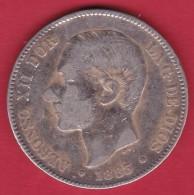 Espagne - 5 Pesetas Argent - Alfonso XII - 1883 - TB - [ 1] …-1931 : Royaume