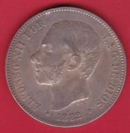 Espagne - 5 Pesetas Argent - Alfonso XII - 1882 - TB - [ 1] …-1931 : Royaume