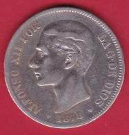 Espagne - 5 Pesetas Argent - Alfonso XII - 1878 - TB - [ 1] …-1931 : Royaume