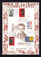 """FRANCE 2003 : Encart Commémoratif N°té En Soie Rare (800 Ex) Des Edit° A.M.I.S. : """" JEAN MOULIN """". Parfait état. FDC"""